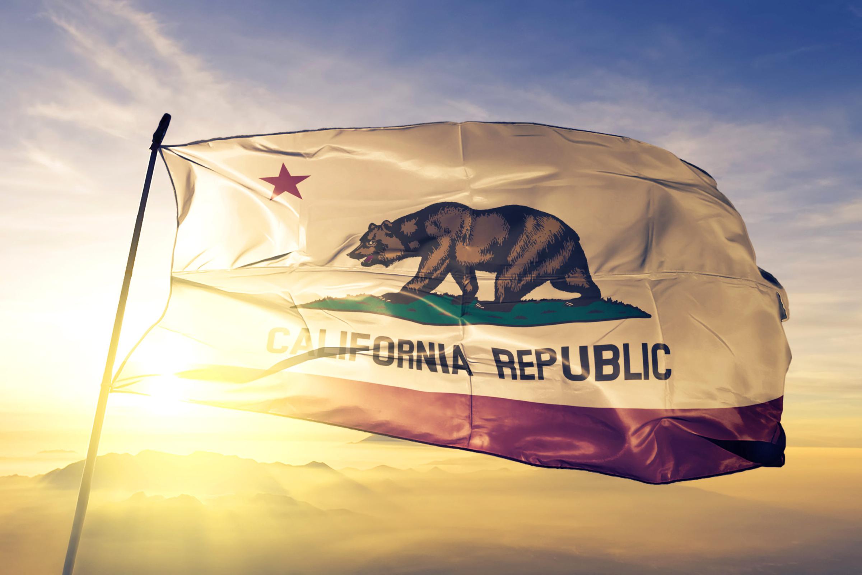 California flag and sunrise