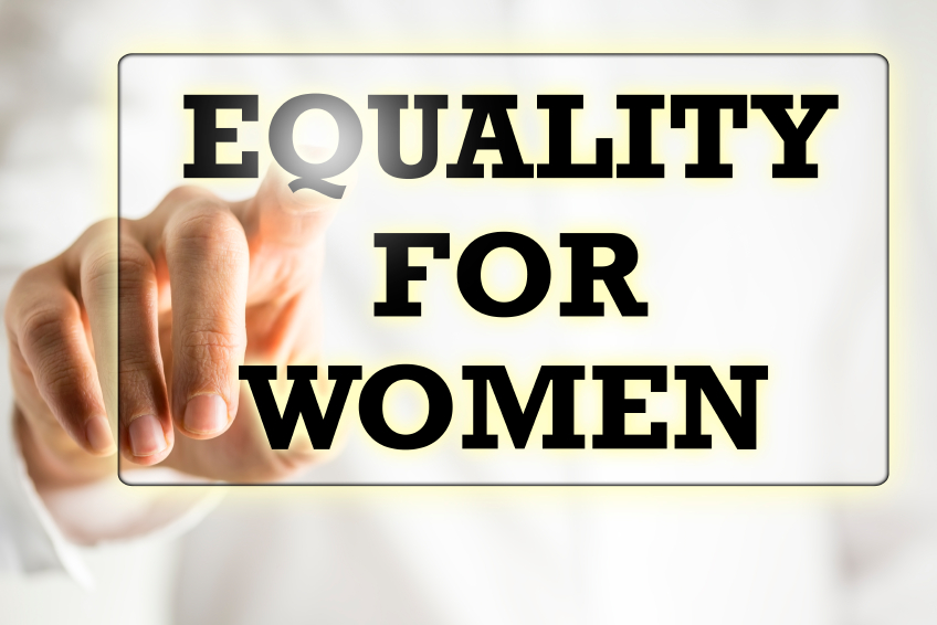 Equality For Woman sign on a virtual screen